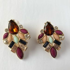 Jewelry - Multi colored jewel toned cluster drop earrings